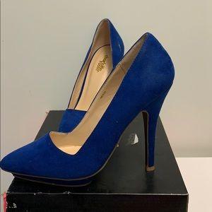 Cobalt blue suede shoes